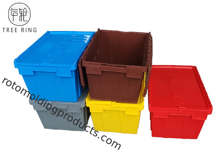 Colorful No Collapsible Plastic Crate With Attached Lids , Stackable Plastic Storage Bins 600 X 400 X  320 Mm