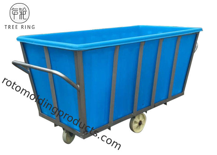 Polyethylene Linen Industrial Plastic Laundry Trolley Basket On Wheels 2100 * 1080 * H880 Mm K1300L